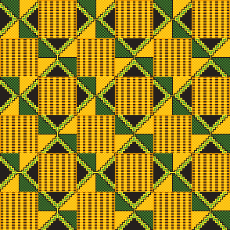Geometric African print. Cloth kente. Seamless pattern.