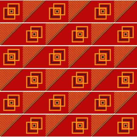 Geometric African print. Cloth kente. Seamless pattern.