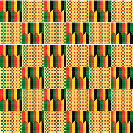 African textile fabric, cloth kente. Ethnic seamless pattern. 向量圖像
