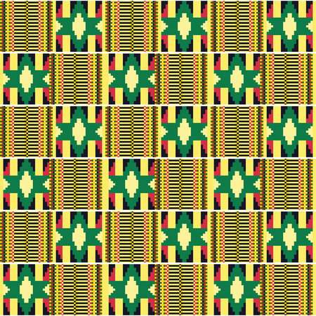African textile fabric, cloth kente. Ethnic seamless pattern. 矢量图像