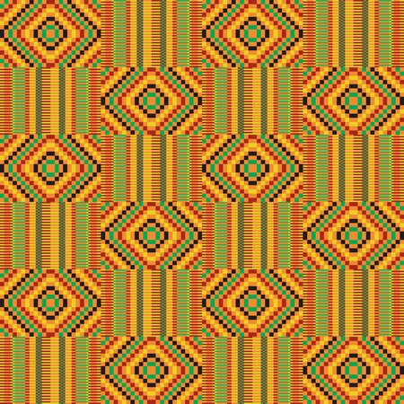 African textile fabric, cloth kente. Ethnic seamless pattern.  イラスト・ベクター素材