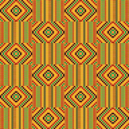 Afrikaanse textielstof, doek kente. Etnisch naadloos patroon.