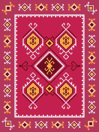 Ethnic turkish kilim rug. Tribal geometric ornament.