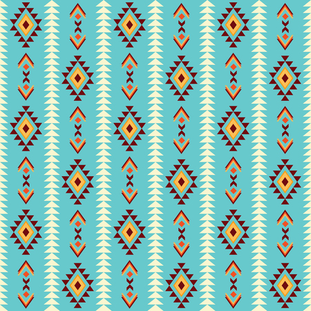 Seamless ethnic pattern background with geometric ornament. Fabric design, wallpaper, wrapping.