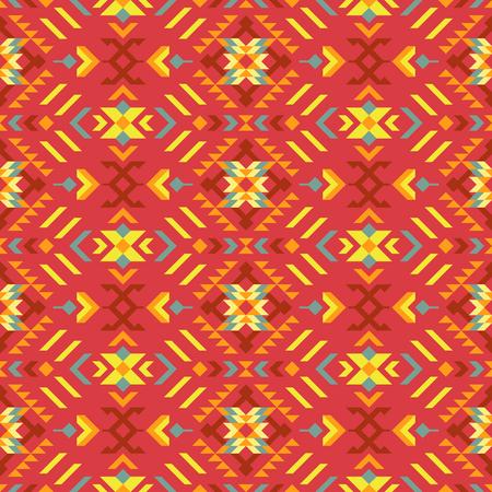 Ethnic geometric print. Tribal kilim. Colorful seamless pattern. Stock Illustratie