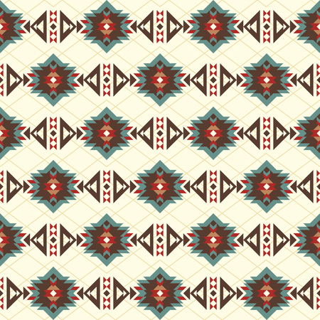Seamless pattern with American Indian motifs. Aztec, boho, native fabric,  background, wrapping paper, package etc.