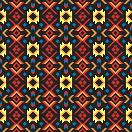 Abstract ethnic geometric pattern design for background or wallpaper. Colorful exotic tribal print.