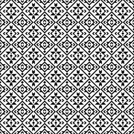 Geometric black and white seamless pattern with boho, tribal, ethnic motifs. Native american, aztec print fabric.