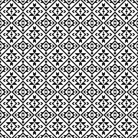 Patrón transparente blanco y negro geométrico con motivos boho, tribales y étnicos. Tejido estampado azteca nativo americano.