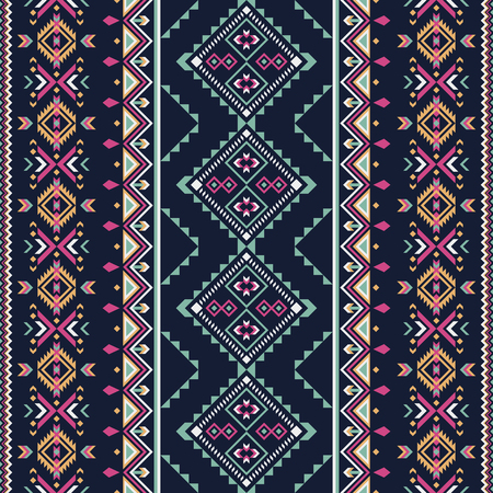 Ethnic, aztec seamless pattern. Indian geometric ornament. Tribal art background.