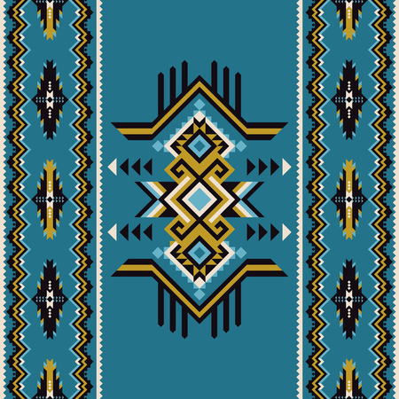 Tribal kilim, abstract geometric ornament, ethnic seamless pattern. Aztec, boho, native fabric.