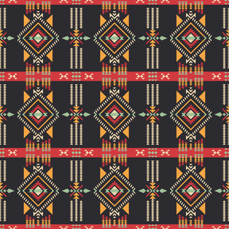 Aztec geometric seamless pattern. Native southwest american, indian print. Ethnic design wallpaper, fabric, cover, textile, weave, wrapping. Vectores