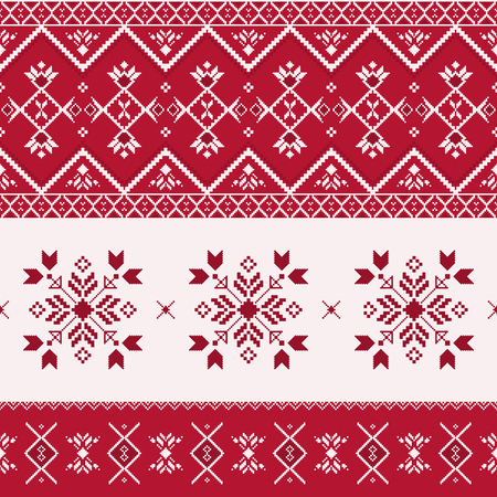 Nordic seamless pattern. Winter geometric ornament with snowflakes in Scandinavian style. Christmas print, Slavic embroidery. Vettoriali