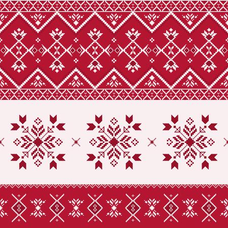 Nordisches nahtloses Muster. Geometrische Winterverzierung mit Schneeflocken im skandinavischen Stil. Weihnachtsdruck, slawische Stickerei. Vektorgrafik