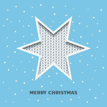 Christmas card, invitation. Silhouette of a star with a knitted texture on a blue background with falling snow. Illustration