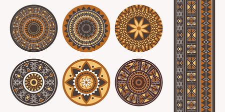 Satz afrikanischer Dekorationselemente. Rundes Ornamentmuster. Sammlung von Mandalas im Stammesstil.