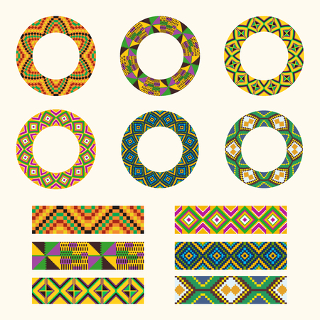 Set of African decorative elements. Round ornament pattern. Collection of frames in tribal style. Kente cloth.
