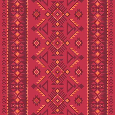 Patrón transparente geométrico azteca. Nativo americano, impresión del suroeste indio. Papel pintado de diseño étnico, tela, tapizado, textil, tejido, envoltura. Ilustración de vector