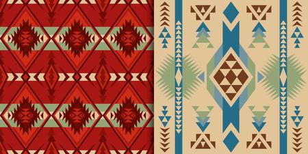 Patrones étnicos sin fisuras. Nativos del suroeste de Estados Unidos, indios, aztecas textiles. Estampado Navajo y Pueblo.