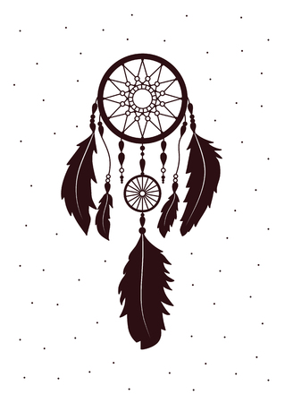 Native American Dreamcatcher with feathers. Decorative ethnic, authentic print, amulet, symbol. Design element in Boho style.