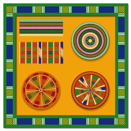 Set of African decorative elements. Round ornament pattern. Kente print.