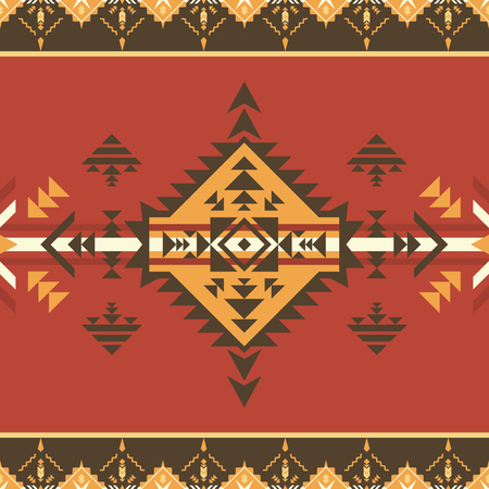 Ethnic seamless pattern. Tribal print. Can be used as wall and floor carpets, bedspreads, tablecloths, carpets, as an element of decor, etc. Stock Illustratie