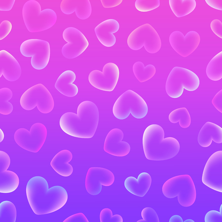 Beautiful pink and lilac background with flying transparent hearts for Valentines Day.