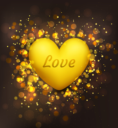 Valentines Day. Golden heart on a festive, brilliant background. Holiday card, invitation with bokeh effect. Иллюстрация