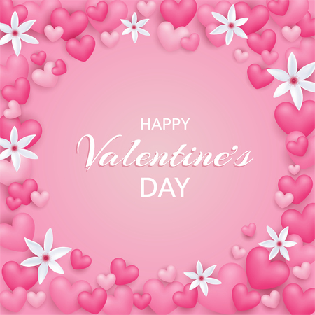 Valentine day card with heart and flowers on gentle pink background. Cute love frame.