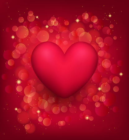 Valentines Day romantic background with bokeh effect. Red 3d Heart. Love concept. Template for greeting card, flyer, invitation, etc.