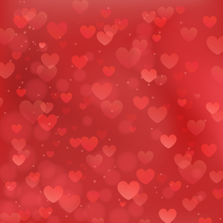 Abstract romantic background with red hearts and bokeh effect. Love concept. 向量圖像