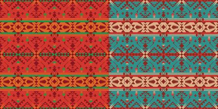 Patrones inconsútiles geométricos aztecas. Impresión del sudoeste indio nativo americano. Papel pintado de diseño étnico, tela, tapizado, textil, tejido, envoltura.