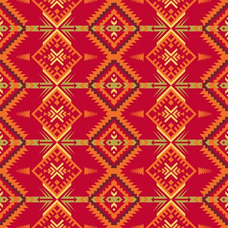 Patrón transparente geométrico azteca. Nativo del suroeste americano, estampado indio. Papel pintado de diseño étnico, tela, tapizado, textil, tejido, envoltura. Ilustración de vector