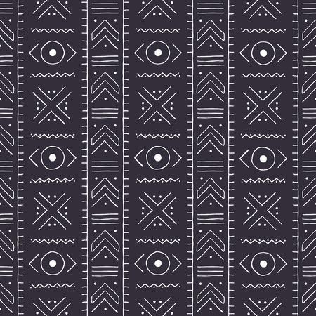 Modello tribale in bianco e nero. Stoffa tradizionale del Mali con ornamenti geometrici.