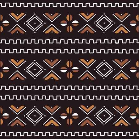 Afrikanisches nahtloses Muster. Traditionelles Schlammtuch, Bogolan. Stammes-Stoff.