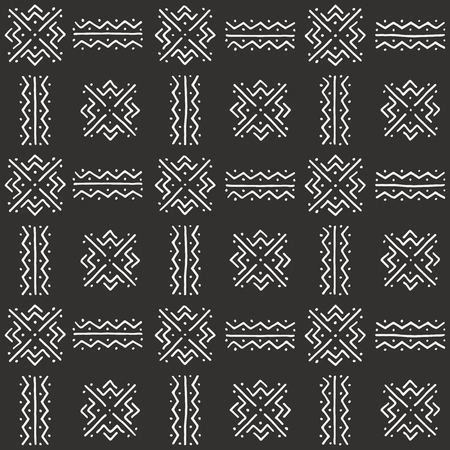 Black and white tribal pattern. Traditional Malian cloth with geometric ornament.