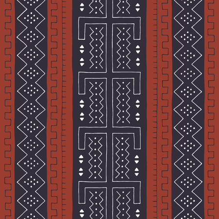 African seamless pattern. Traditional mud cloth, bogolan. Geometric design.