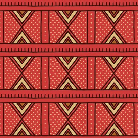 Tribal seamless pattern. Traditional African mud cloth, bogolan. 向量圖像