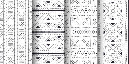 Conjunto de patrones tribales blancos y negros. Paño tradicional de Malí con adornos geométricos.