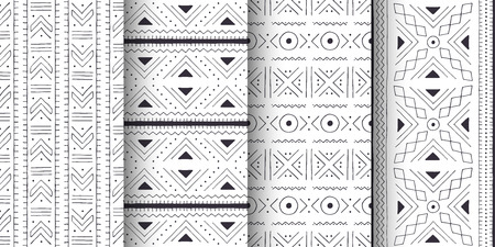 Set of white and black tribal patterns. Traditional Malian cloth with geometric ornament. 向量圖像