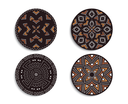 Set of African decorative elements. Round ornament pattern. Collection of mandalas in tribal style. Tribal design. Иллюстрация