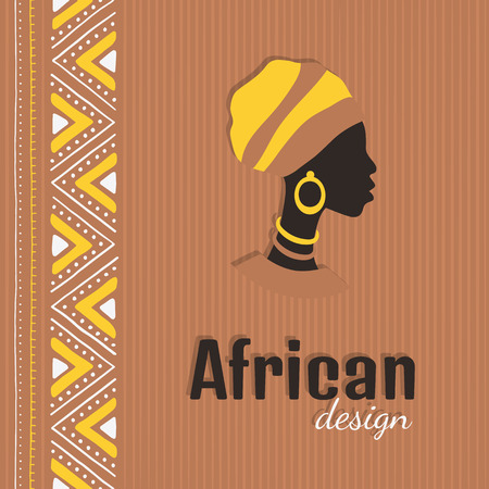 Colorful card with a silhouette of an African woman. Tribal design template for cover, poster, flyer, banner with ethnic ornament.