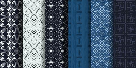 Insieme dei reticoli senza giunte etnici. tessile africano. Arte tribale vettoriale.