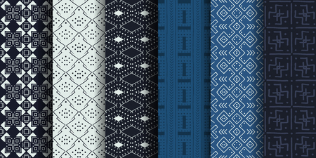Set of ethnic seamless patterns. African textile. Vector tribal art.