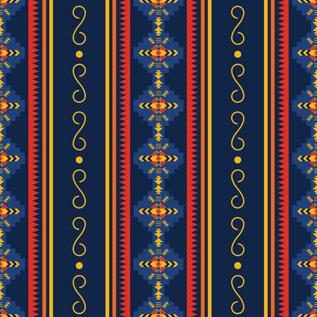 Modelo inconsútil étnico. Suroeste nativo americano, Navajo, ornamento geométrico azteca. Arte vectorial tribal. Ilustración de vector