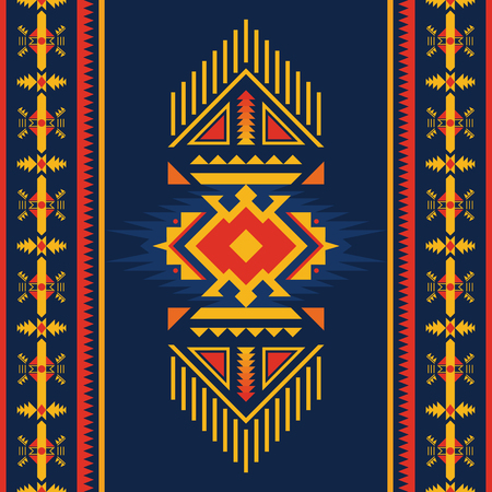 Ethnic seamless pattern. Native American Southwest, Navajo, Aztec geometric ornament. Tribal vector art.
