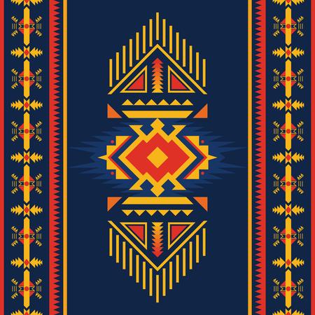 Modelo inconsútil étnico. Suroeste nativo americano, Navajo, ornamento geométrico azteca. Arte vectorial tribal.