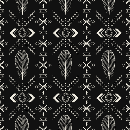 Black and white handmade Aztec seamless pattern with feathers. Ethnic print. Vector Tribal art.