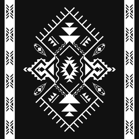 Ethnic black and white seamless patterns. Tribal print, kilim. Aztec geometric ornament. Can be used as wall and floor carpets, bedspreads, tablecloths, rug, as an element of decor, etc.