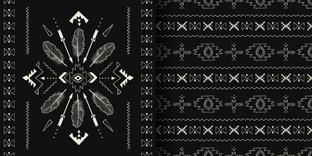 Textile fashion Aztec, Boho print. Black and white handmade Ethnic seamless patterns. Vector Tribal art. 向量圖像
